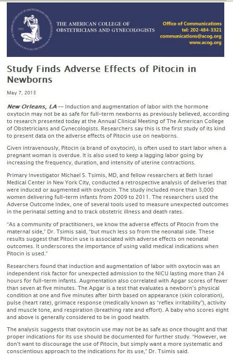 pitocin use not safe for newborns
